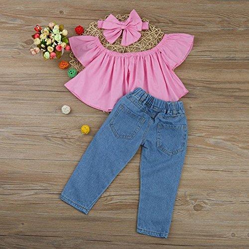 cb57f412b4d ViWorld Toddler Baby Girls Short Set Kid Off Shoulder Tops Denim Pants  Jeans 3PCS Outfits Set
