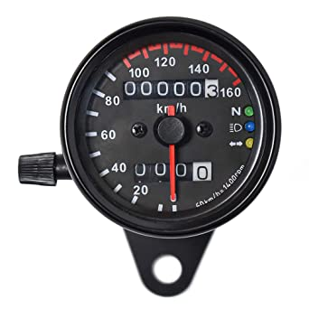 Amazon.com: DKMOTORK 0021 KM/H Mechanical Motorcycle Speedometer Dual  Odometer Gauge with Led Backlight Neutral Headlight Turn Signal Indicator  Stainless 2.56 Inches 12V Black: Industrial & Scientific   Speedo Gauges Wiring Diagrams      Amazon