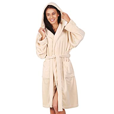 Bathrobe XS Short Women Men Unisex Hooded Dressing Gown Microfibre Soft  Snug Cosy Fleece Beige Robby ecd84bbb9