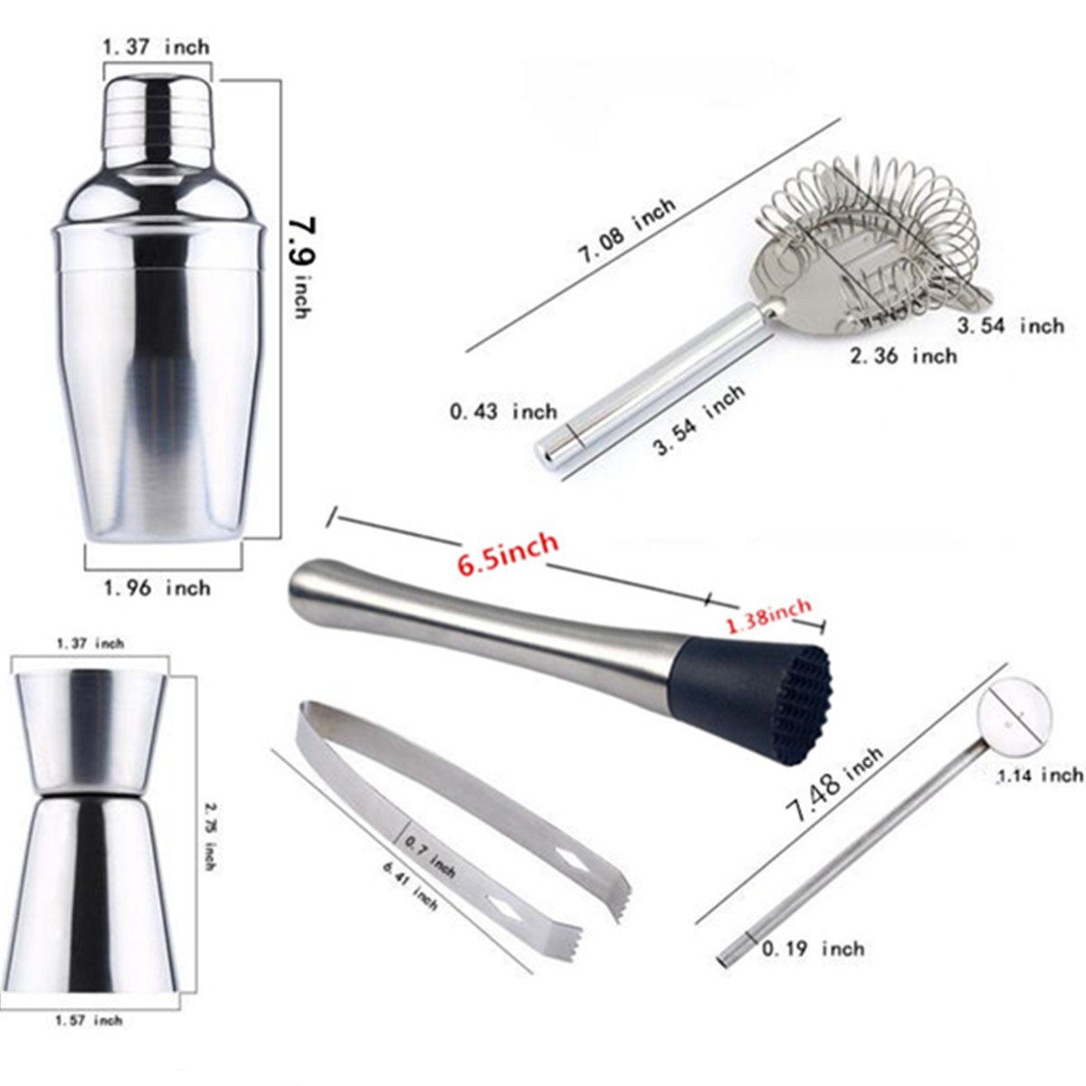 Cocktail Maker Set 10 Pce Home Cocktail Making Kit with Manhattan Cocktail Shaker Bar Measures, Twisted Bar Spoon, Muddler, Mixer, Bottle Pourer, Ice Strainer & Ice Tongs