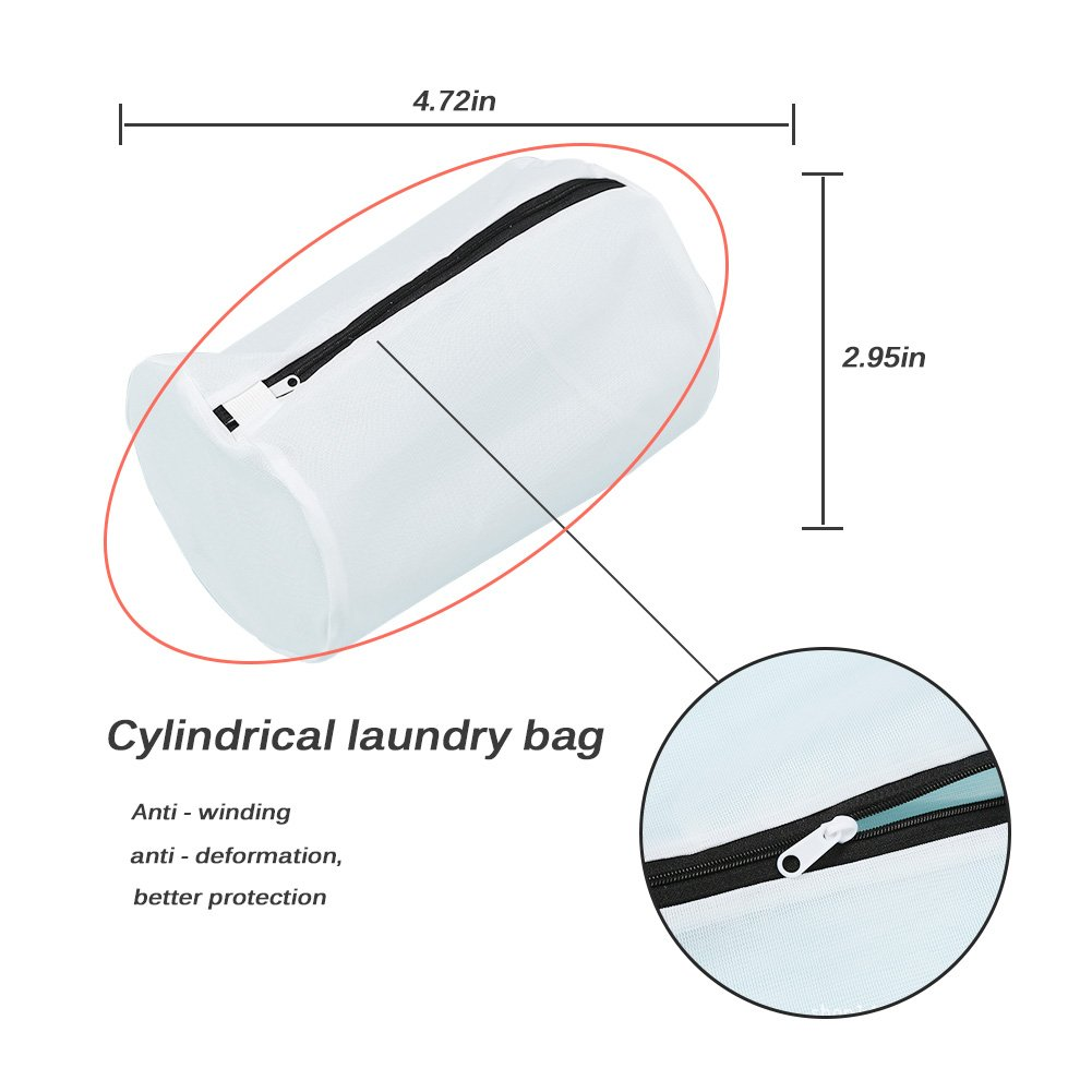 Pack of 6 Delicates Mesh Laundry Bag, Bra Lingerie Underwear Drying Wash Bag with Zipper,Travel Laundry Bag (2 Large & 2 Medium & 2 Cylinder bags)