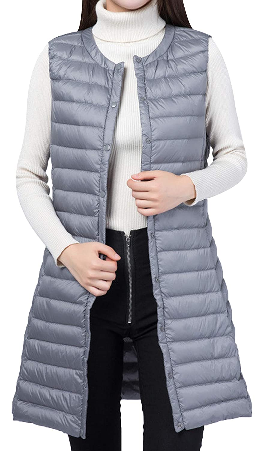 JOKHOO Womens Solid Button-Front Quilted Long Puffer Vests Jacket