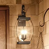 Luxury Colonial Outdoor Wall Light, Large Size: 22.5''H x 9''W, with Transitional Style Elements, Bowed Design, Gorgeous Dark Medieval Bronze Finish and Beveled Glass, UQL1172 by Urban Ambiance