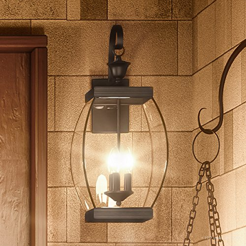 Luxury Colonial Outdoor Wall Light, Large Size: 22.5''H x 9''W, with Transitional Style Elements, Bowed Design, Gorgeous Dark Medieval Bronze Finish and Beveled Glass, UQL1172 by Urban Ambiance by Urban Ambiance (Image #8)