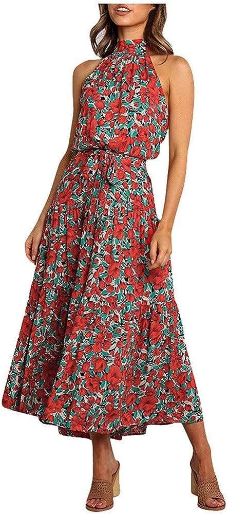 Vestido Largo Estampado Floral Sin Mangas con Cuello Halter Sin ...