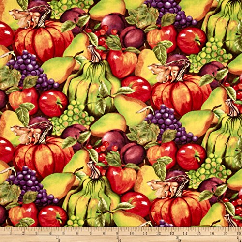 Thankful Harvest Stacked Fruits Fabric