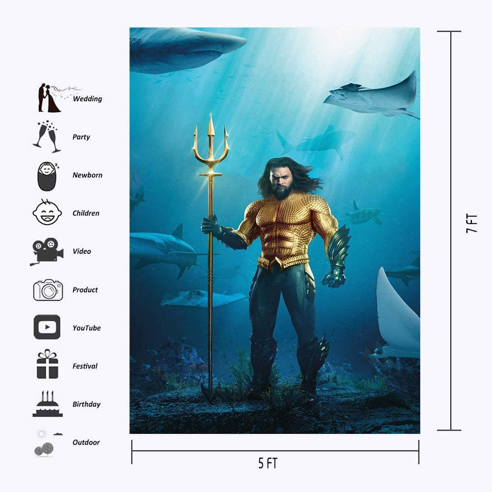 Happy Birthday Under The Sea Backdrops for Photography 5x7ft Blue Ocean Shark Gold Aquaman Photo Background Tabletop Personalized Name Kids Birthday Photoshoot
