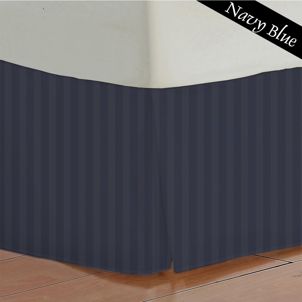 11 Inches Extra Drop Length 400 Thread Count 1- Piece Bed Skirt Stripe 100% Egyptian Cotton All Size And Color (Full XL , Black). Scala