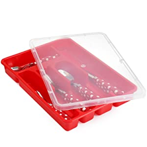 Zilpoo Flatware Storage Plastic Tray with Lid, Kitchen Cutlery and Accessories Box, Utensil Drawer Organizer Container with Cover, College Dorm Room Organization Essentials Holder, Red