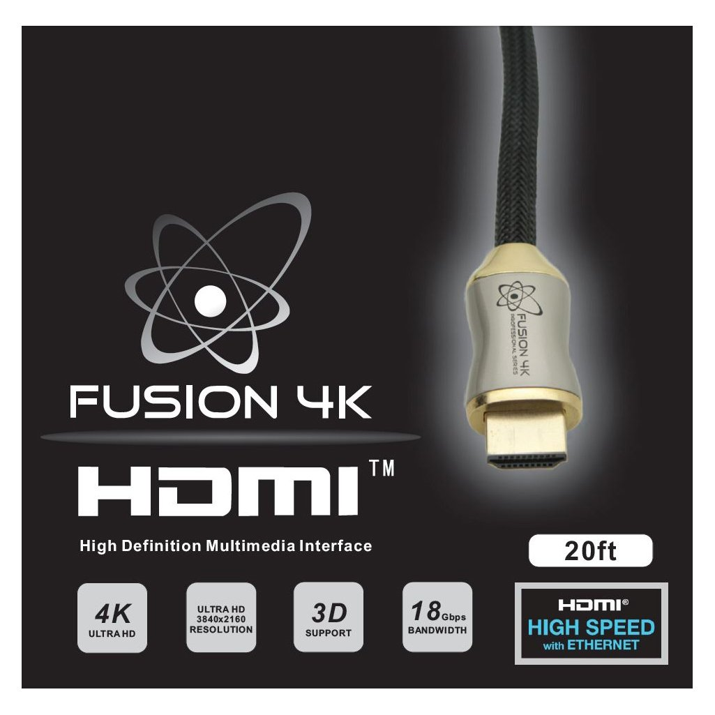 Fusion4K High Speed 4K HDMI Cable (4K @ 60Hz) - Professional Series (20 Feet) by Fusion4k