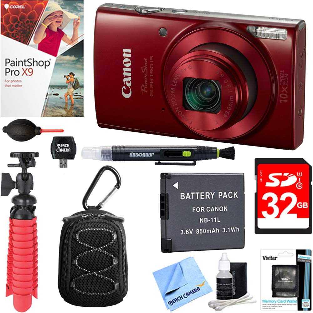 Canon PowerShot ELPH 190 is Digital Camera with 10x Optical Zoom (Red) + 32GB Deluxe Accessory Bundle by Beach-Camera