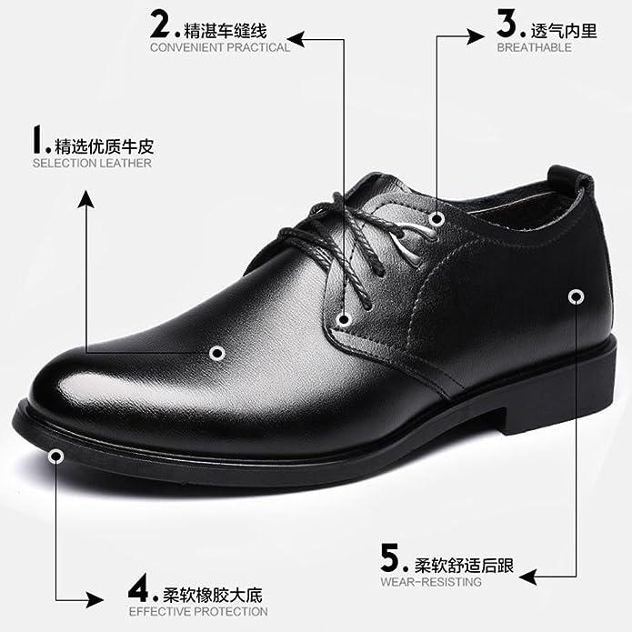 Ruiyue Leder Oxford Schuhe Männer, PU Leder Closed Toe Nähte Design Weiche Sohle Wohnungen Für Herren (Farbe : Black, Size : 7 UK)