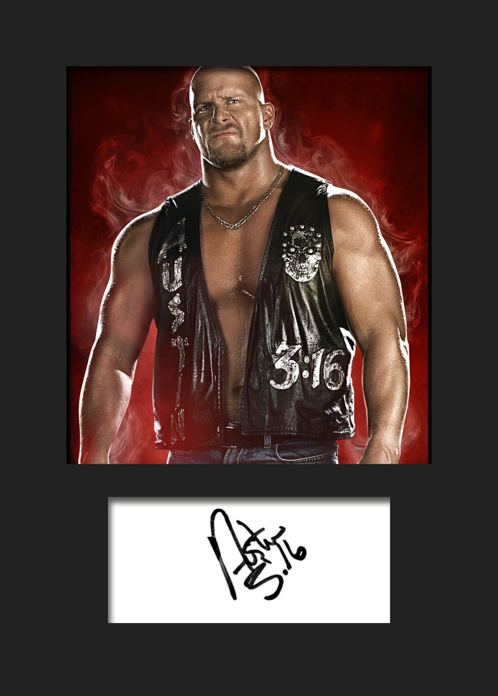 STEVE AUSTIN stonecold WWE, Signiert, A5Print A5Print