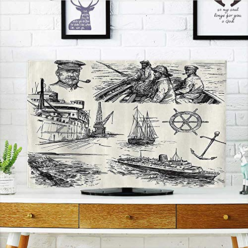 - L-QN Protect Your TV Sherman Captain Seaman Sailboat Old Historic Sketch Mochromatic Artwork Protect Your TV W35 x H55 INCH/TV 60