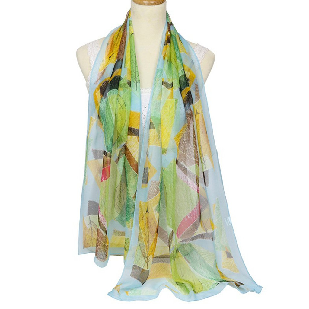 JAGENIE Women's Sunscreen Fashion Geometric Printed Scarves Oblong Blanket Large Shawl A