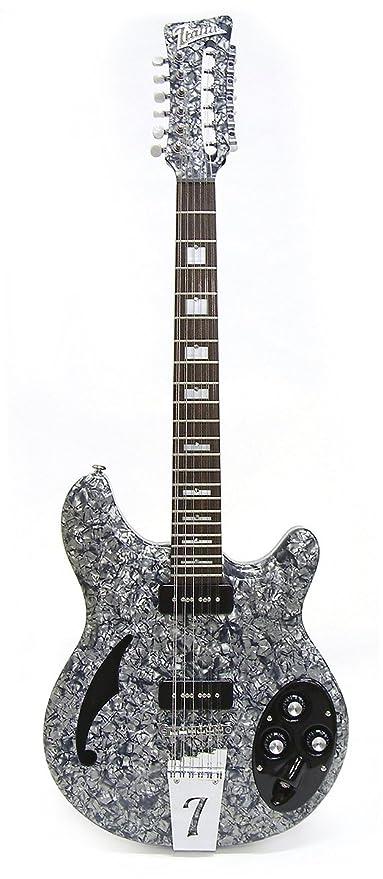 Italia Rimini guitarra eléctrica de 12 nacarado, color gris