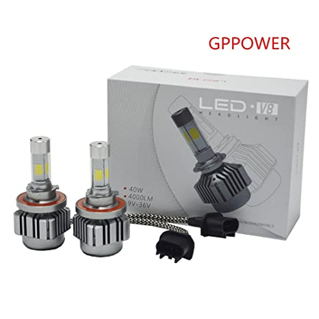 Amazon GPPOWER 2PCS H13 9008 COB 4 Side Led Headlights Bulbs Replacement Lights Halogen HID All In One 8 36V 6000K White 80w 9600LM Warranty 1year