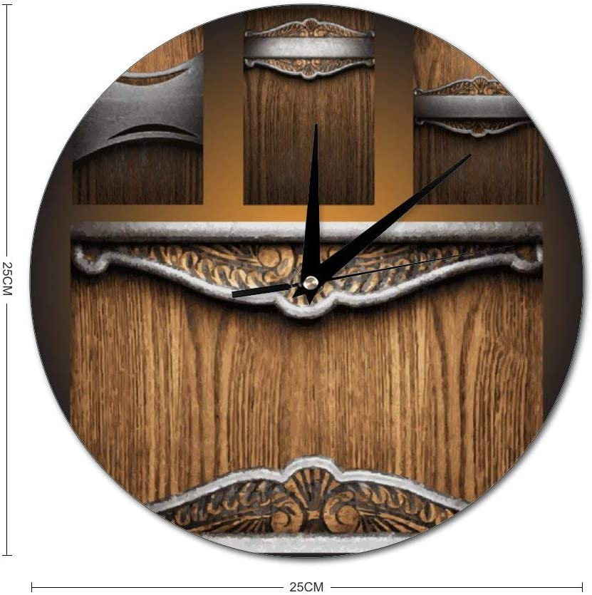 Amazon Com Mesllings Scale Free Wall Clocks Vintage Wooden Round Glass Wall Clock Wall Decor Clocks For Kitchen Office Retro Hanging Clock Home Decor Accessories Home Kitchen