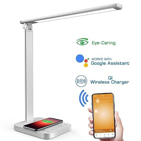 NAPATEK Lámpara Escritorio LED, Lámpara De Mesa Para El Cuidado De Los Ojos Con Wifi Y Cargador Inalámbrico, Compatible Con Echo Alexa Y Google ...