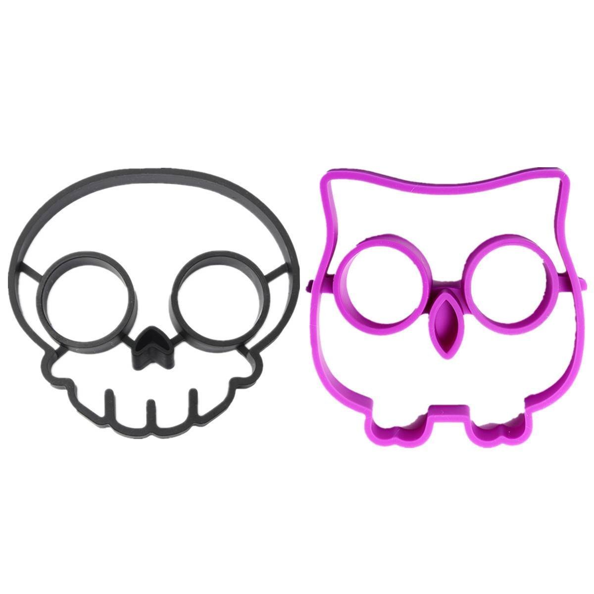 DierCosy 2pcs Funny Side Up Egg Shaper Mould Breakfast Fried Mold, Skull and Owl Shape
