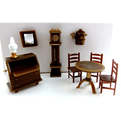 Melody Jane Dolls Houses House Miniature 1:48 Scale Plastic Study Office Furniture Set: Toys & Games