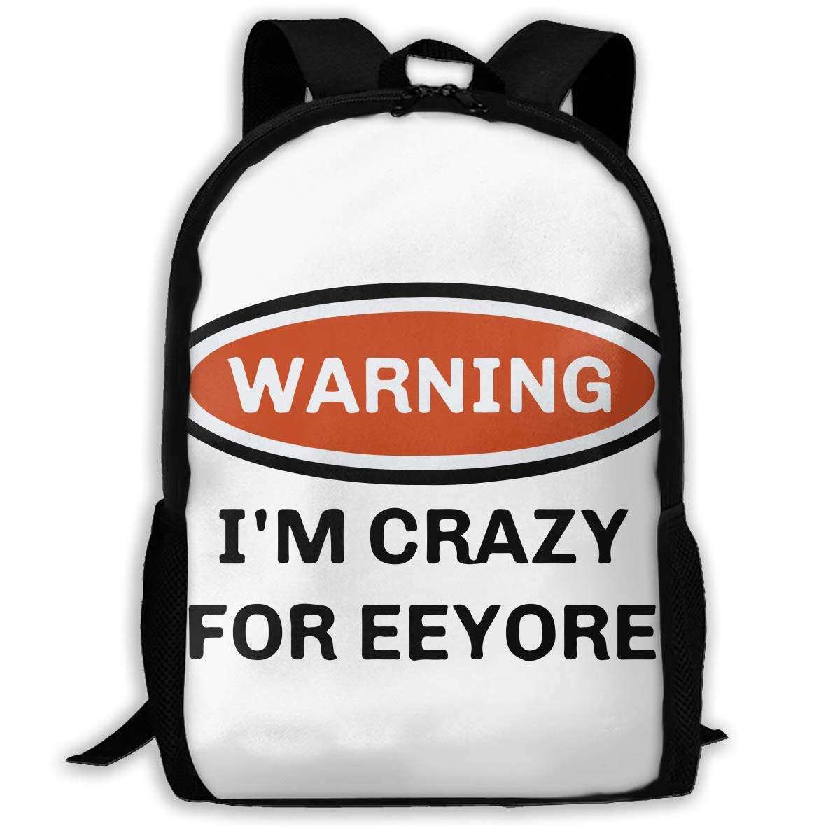 jhguihuyftyrtytgjkh Casual Backpack Warning I'm Crazy for Eeyore 3D Printing School Bags for Boys Girls Unisex Adult Shoulder Bag ILY Bag Outdoor Orts