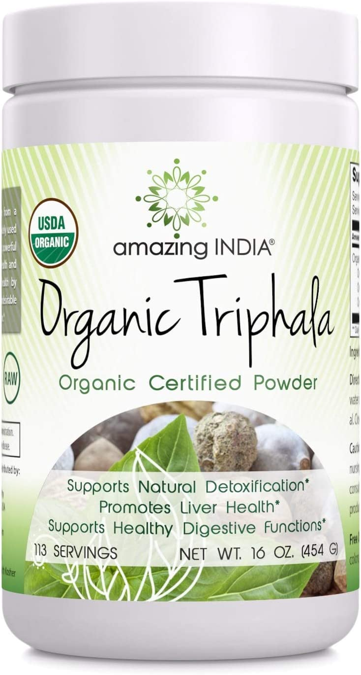 Amazing India USDA Certified Organic Triphala Powder (Non-GMO,Gluten Free) 16 oz-Raw, Vegan- Gluten-Free, Plant-Based Nutrition Supports Detoxification and Regularity, Promotes Digestive Health