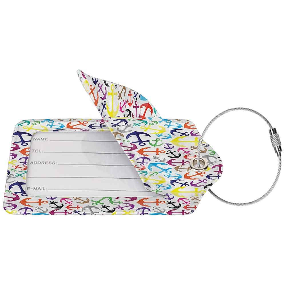 Flexible luggage tag Anchor Decor Collection Anchors Pattern Artistic Design Happy Summer Swimming Boat Coastline Repeat Design Fashion match Blue Yellow Green W2.7 x L4.6