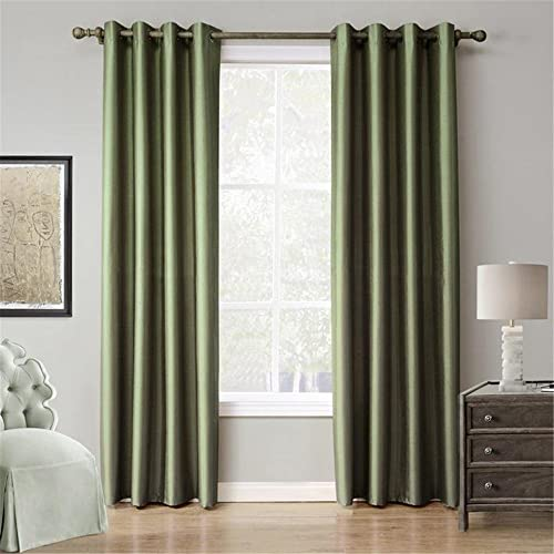 MEILIANJIA Modern Faux Silk Dupioni Plain Coloured Thermal Insulated Shade Energy Saving Curtains 55 W x 102 L One Panel ,Green