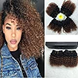 "Full Shine 8"" 100g Per Package Remy Hair Ombre Extension Weave Extensions Human Hair Quick Weave Two Tone Color 1B to #33 Curly Hair Extensions for Black Women"