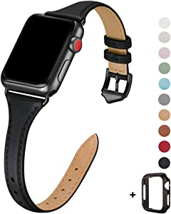 WFEAGL Leather Bands Compatible with Apple Watch 38mm 40mm 42mm 44mm, Top Grain Leather Band Slim & Thin Replacement Wristband for iWatch SE & Series 6/5/4/3/2/1 (Black/Black, 42mm 44mm )