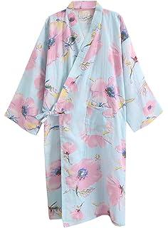ECHERY Las Mujeres de Verano de Algodón Kimono Batas Floral Ropa de Dormir Pijamas de Khan