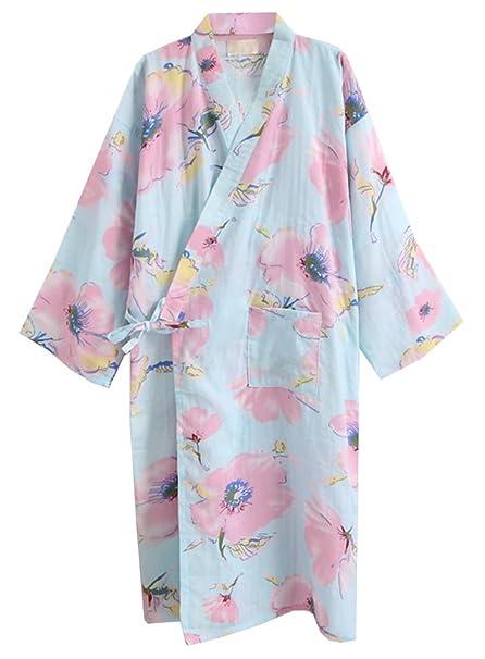ECHERY Las Mujeres de Verano de Algodón Kimono Batas Floral Ropa de Dormir Pijamas de Khan al Vapor Albornoz Yukata Azul Flores: Amazon.es: Ropa y ...
