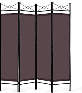 Giantex 4 Panel Room Divider Screens Steel Frame & Fabric Surface Freestanding Room Dividers and Folding Privacy Screens Home Office, Brown