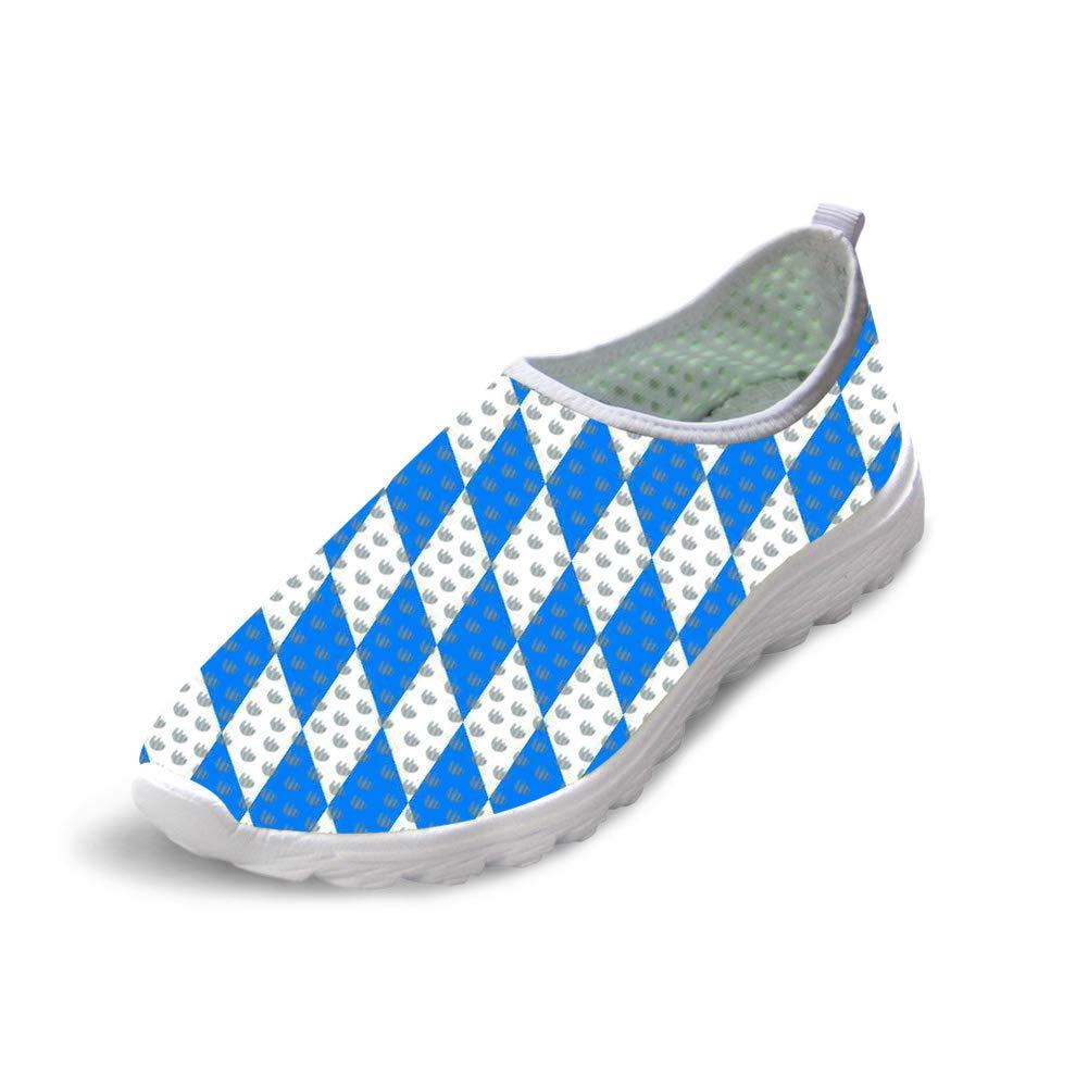 Owaheson Trail Runner Running Shoe Casual Sneakers Blue White Diamond Bavarian Flag