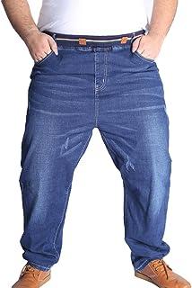 Heheja Uomo Pantaloni Taglia Grossa Tempo Libero Jeans Elasticità Vita Alta Denim Pantaloni