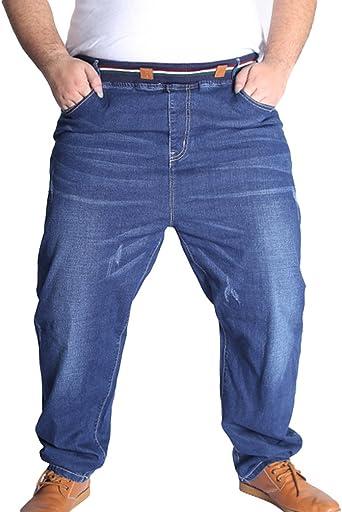 Heheja Herren Freizeit Jeanshosen Hohe Taille Denim Hose Übergröße Elastizität Jeans