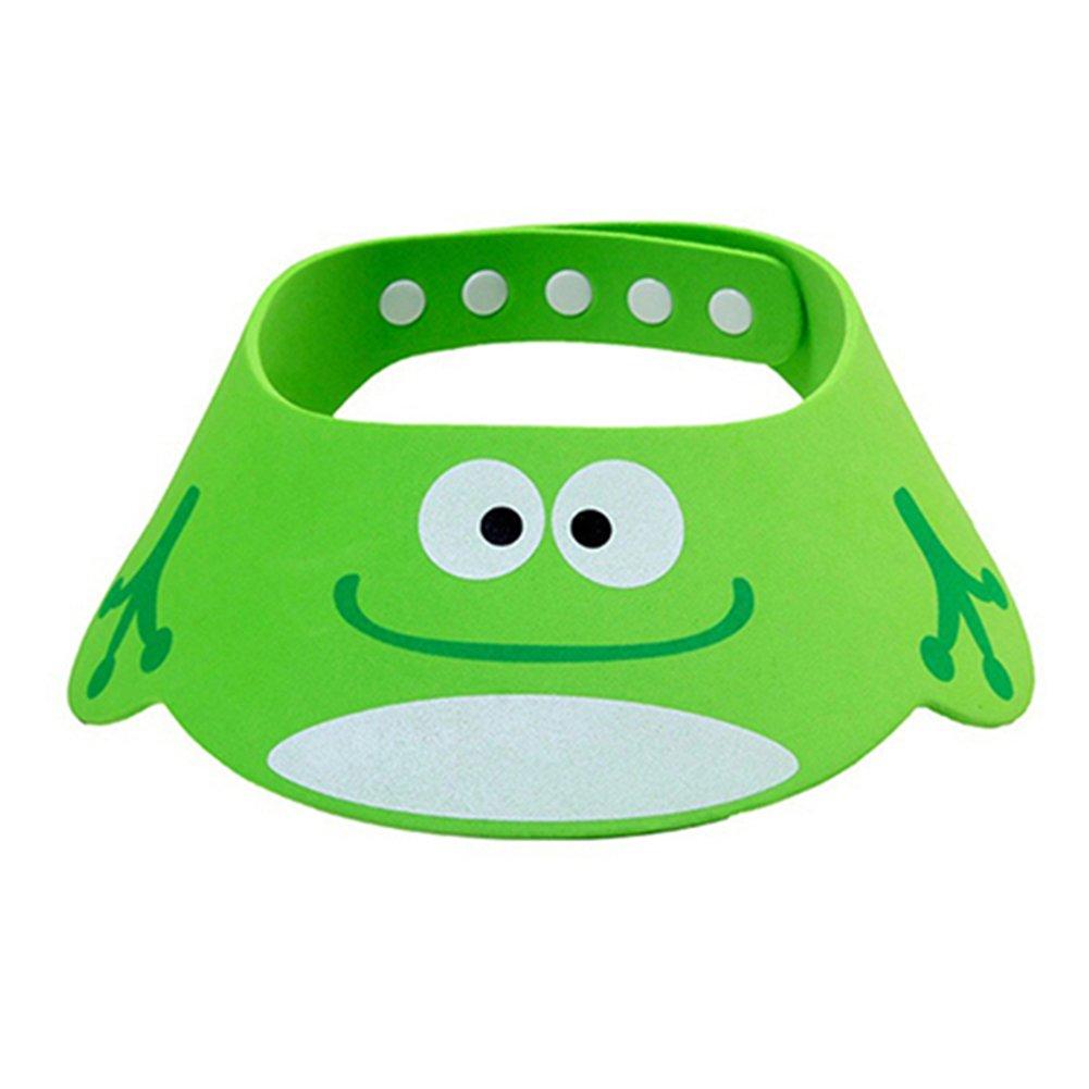 Adjustable Soft Baby Shampoo Shower Hat Cap Bath Cap Wash Hair Waterproof Shield (Green)