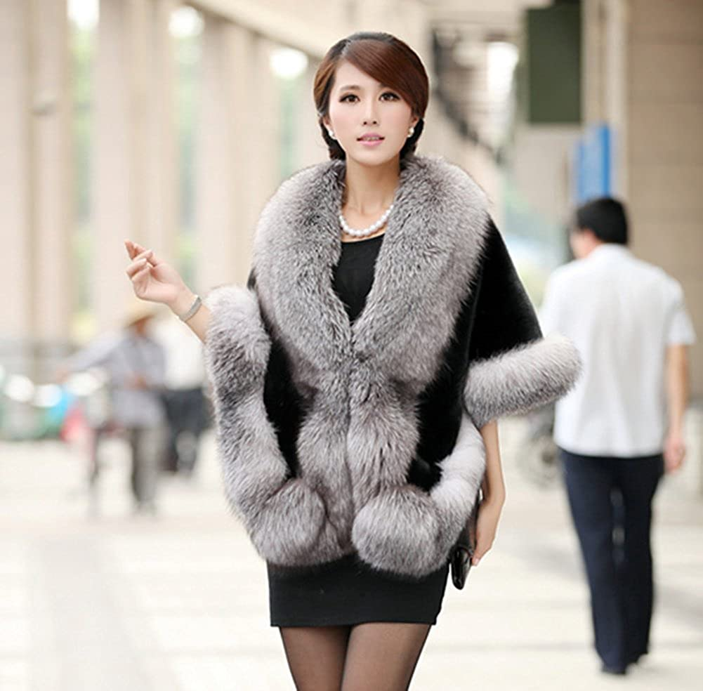 Modelshow Faux Fur Shawl Imitation Mink Fox Fur Winter Coat Thicken Elegant Bride Cloak