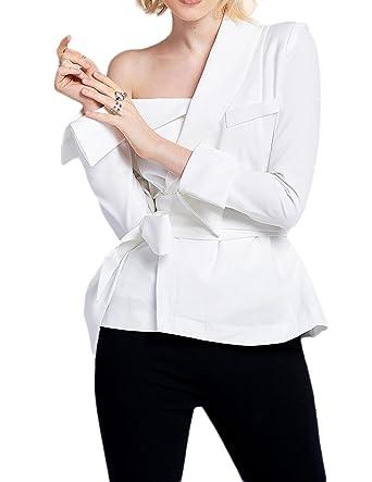 c437eab04eb6 Vero Viva Womens One Shoulder Asymmetrical Drawstring Blazer OL Long Sleeve  Coat at Amazon Women's Clothing store: