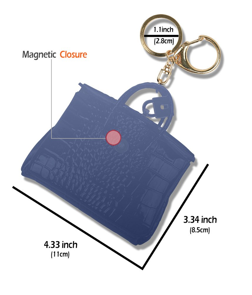 Blue Car Key Chain Ring Coin Card Holder Small Wallet Bag Pouch Custom Accessories Leather Keychain Keyring good2Box