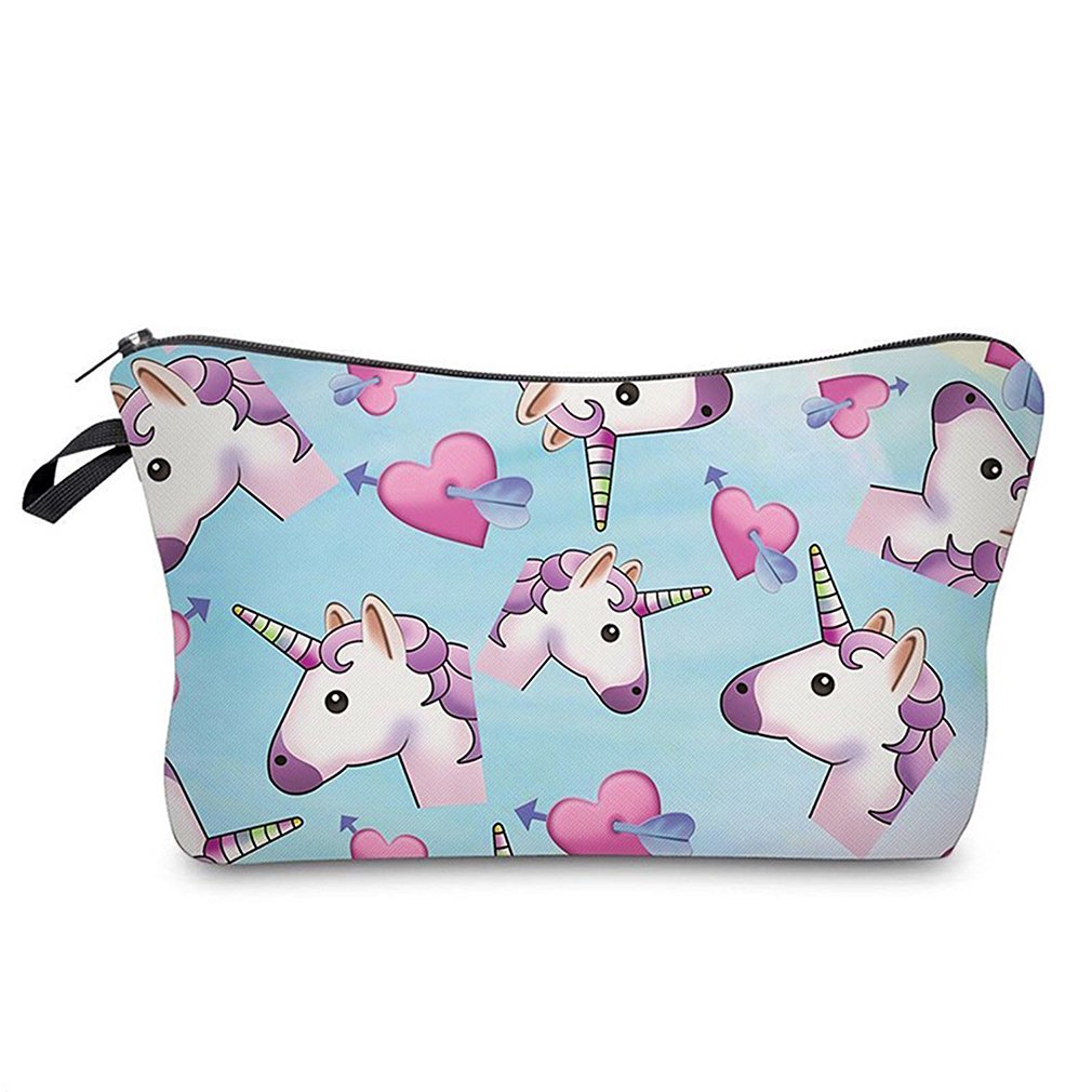 HENGSONG Women Girls Unicorn Printed Makeup Pouch Cosmetics Bag Key Bag Coin Purse Stationery Case Pencil Case with Zipper Gifts Skyblue