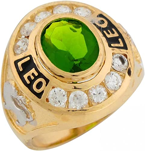 Leo 10k or 14k Solid Yellow Gold Zodiac CZ Ring