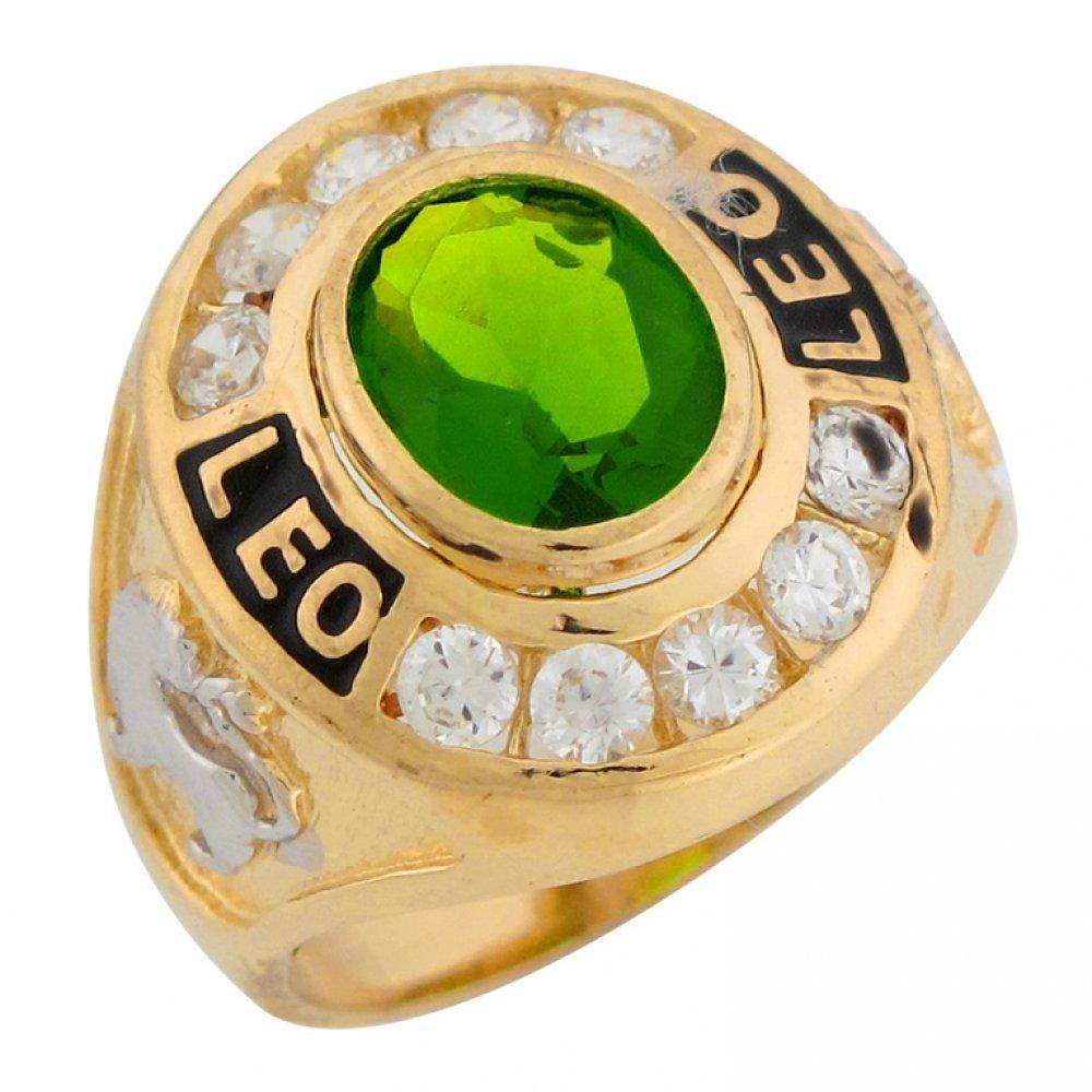10k Two Tone Gold Simulated Peridot CZ August Birthstone Leo Zodiac Mens Ring