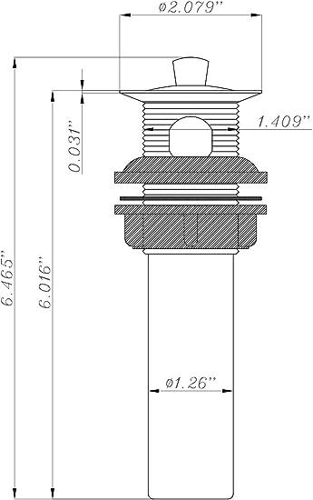 White DF-PU200-WT RV Bathroom Sink Drain Pop-Up No Overflow Dura Faucet