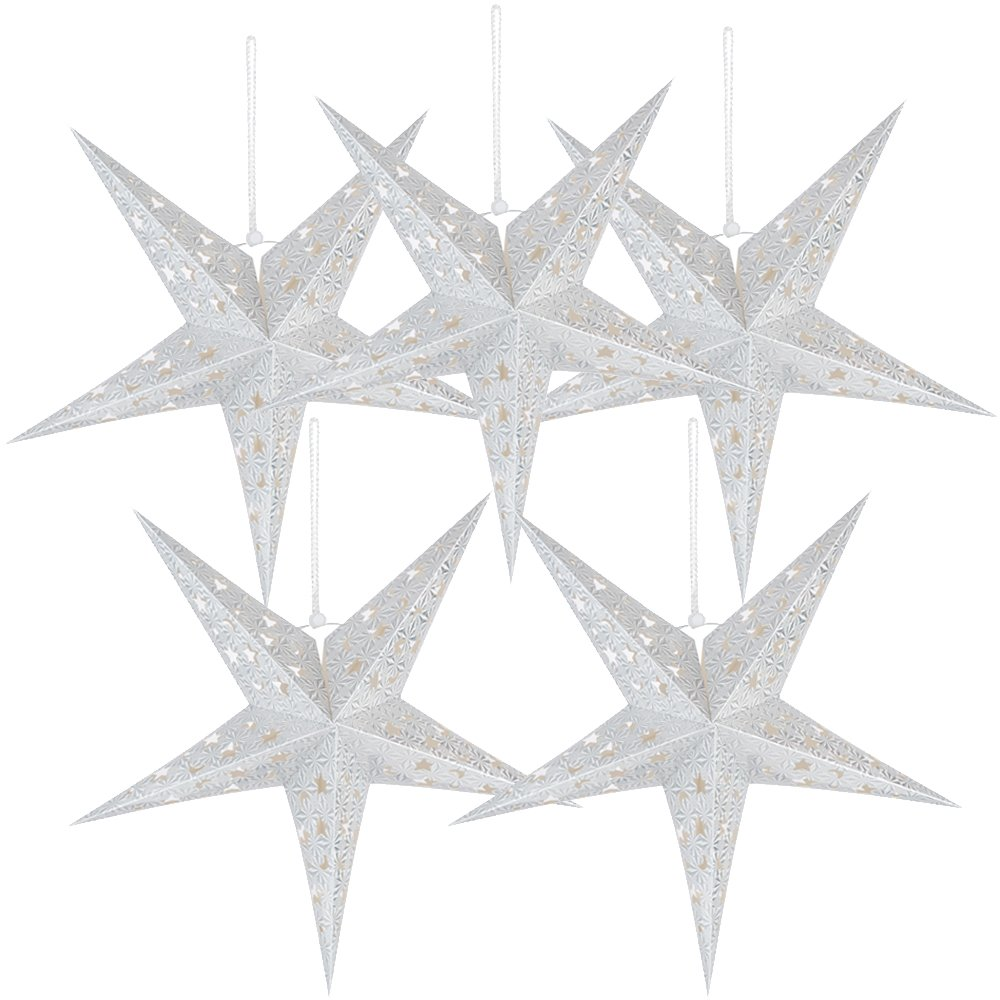 """5 Packs 20"""" Paper Star Lantern Lampshade Hanging Christmas Xmas Day Decoration for LED Light Wedding Birthday Party Home Decor Hollow Out Design(Lights not Included) (Silver)"""