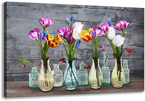 Canvas Wall Art For Living Room Tulip Flower In Glass Bottle Painting Print On Canvas For Spa Office Bathroom Master Bathroom Dining Room Wall Decoration Modern Floral Vase Pictures Canvas Artwork