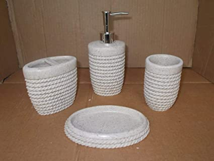 TOTO DEALS Rope Design Bathroom Sanitary Set Made from Natural Stone - Bath Accessories Set of 4 Includes Soap Dispenser, Toothbrush Holder, Utility and Soap Dish.