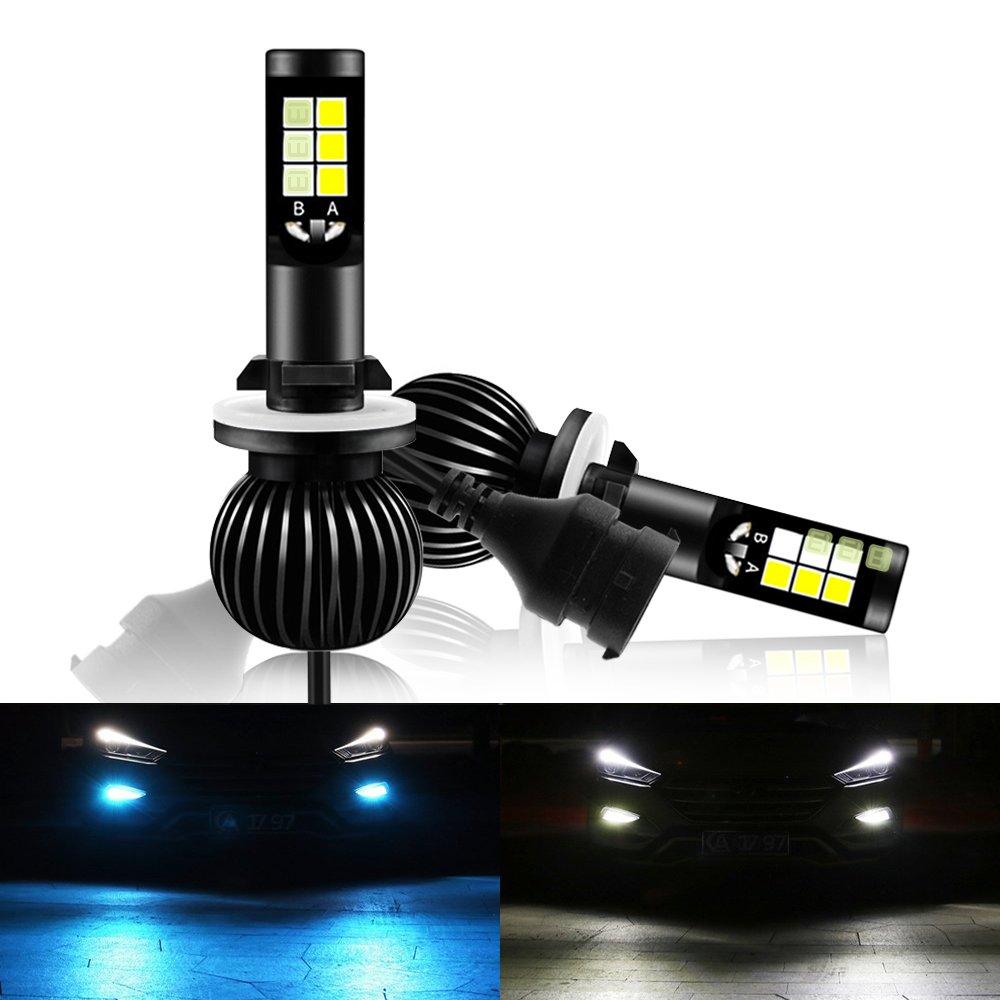 Mesllin LED Fog Light 40W Super Bright Car Driving Lights Bulb 6000K White 8000K Ice Blue Dual Color LED H3 Fog Lamp DRL 5200lumens (H3) NW-FL-40w-IBW-H3
