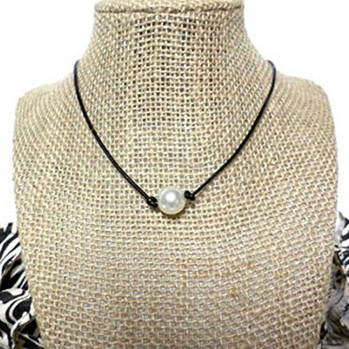 white-freshwater-pearl-black-leather-cord-knot-choker-necklace-charm-friend-gift